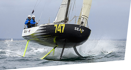 Mini 747 SEAir at sea - a full flying monohull foiler