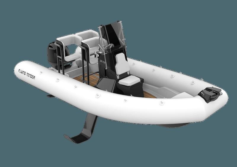 3D illustration of a white SEAir Flying Tender 5.5m