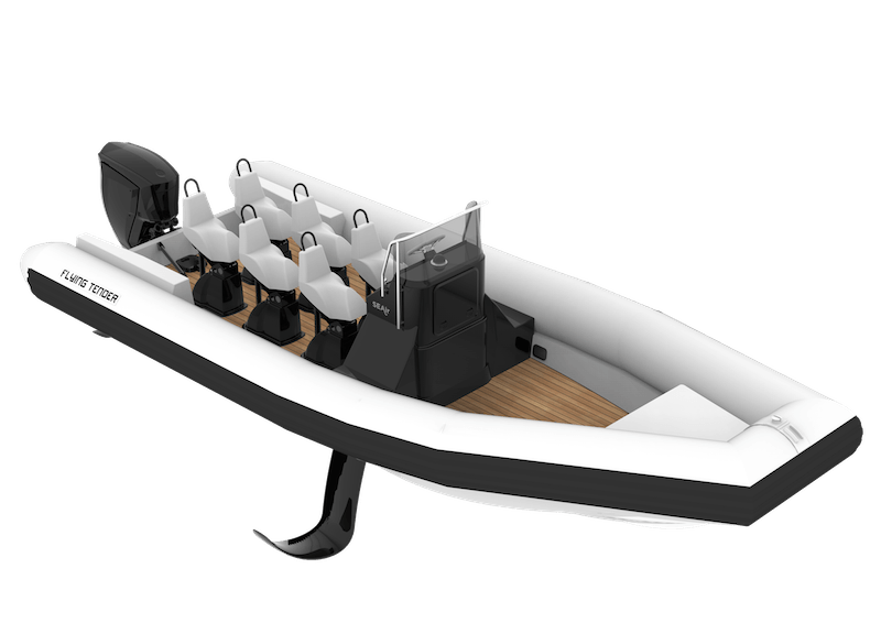3D illustration of a white SEAir Flying Tender 7.65m