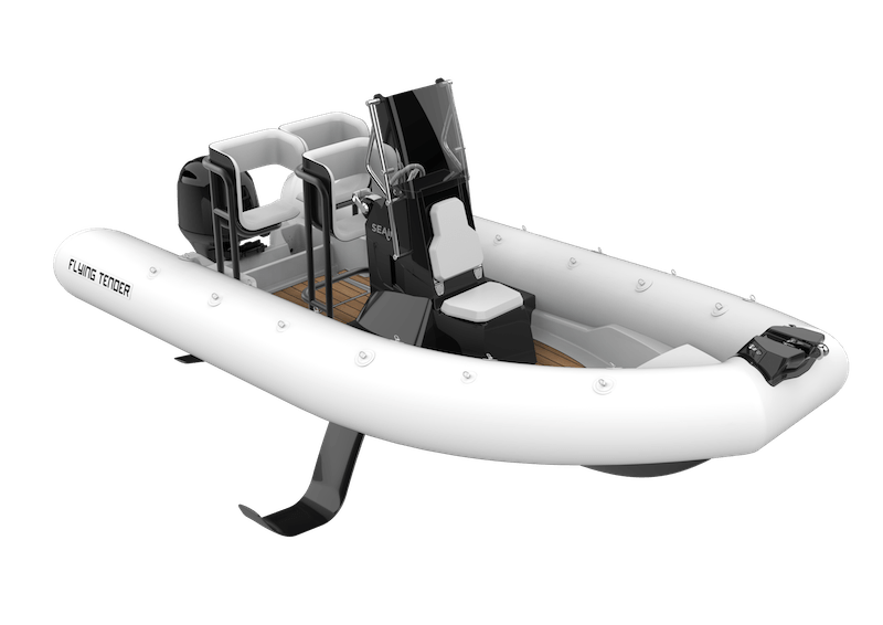 3D illustration of a white SEAir Flying Tender 5.5m